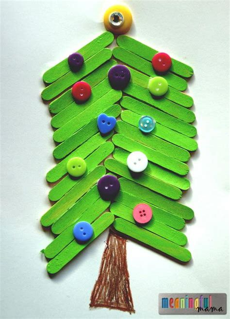 popsicle stick christmas tree craft for kids