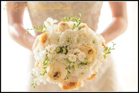 Beautiful Wedding Ribbons For Church Pews #5: Classic-white-dahlias-caramel-antique-cabbage-roses-and-white-freesia.jpg