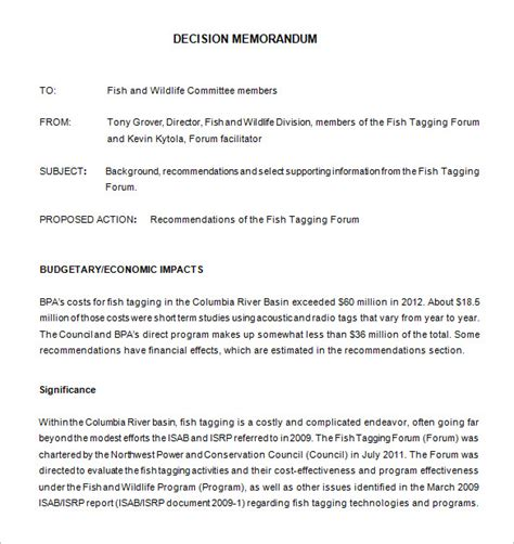 Decision Memo Template 8 decision memo templates free word pdf documents