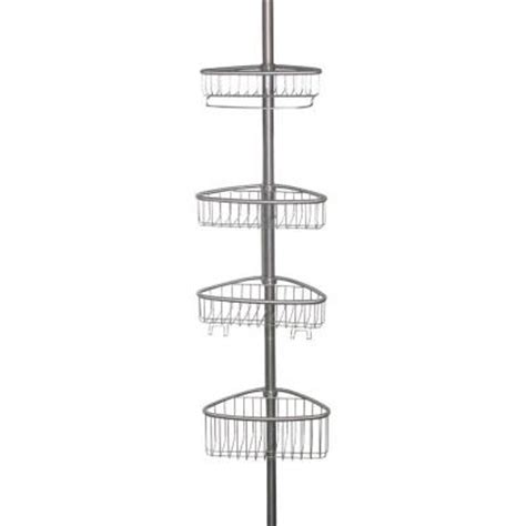 brushed nickel tension shower caddy