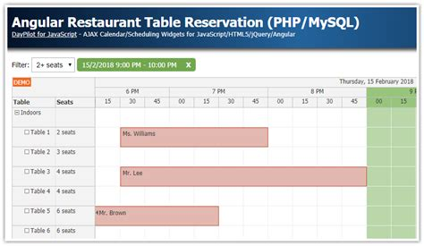 of the table reservations angular 6 restaurant table reservation php mysql