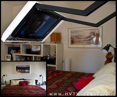 Bed Frame With Tv Mount This Flip Out Tv Mount Lets You Hide Your Tv A Mirror Or Painting
