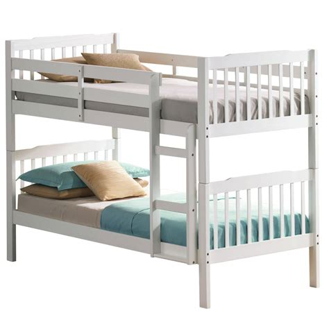 bunk bed set emin white bunk bed package with mattress and duvet set next day delivery emin