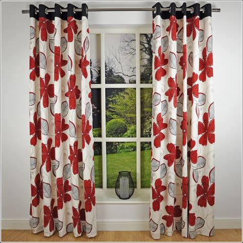 red floral drapes red and grey eyelet curtains curtains home design