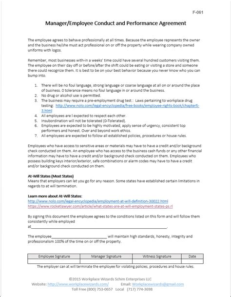 Employee Conduct Agreement Form Restaurant Consulting Employee Performance Agreement Template Free