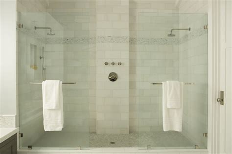 Two In One Shower by Dual Shower Transitional Bathroom Eric Design
