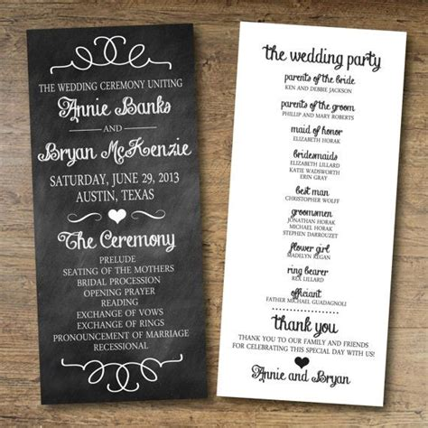 free wedding program templates 15 lovely free printable wedding program templates