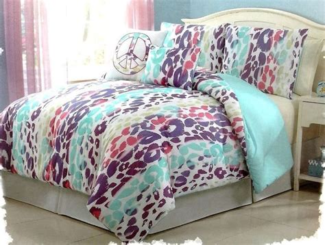 Purple Cheetah Comforter Set by Details About Bedding Blue Pink Purple Leopard Bed