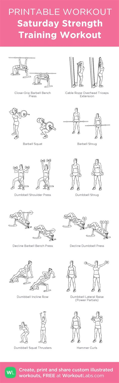 printable iron strength workout saturday strength training workout custom printable