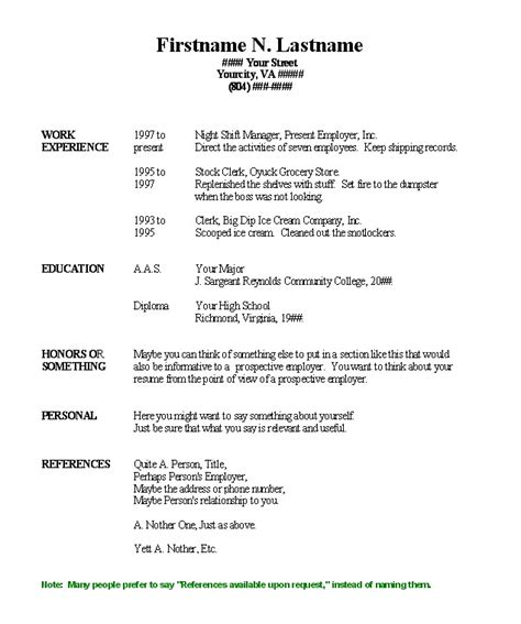 basic resume templates word 2003 2