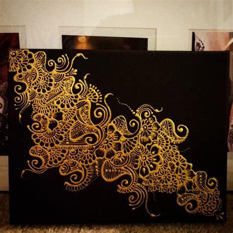 pattern art on canvas henna design painted canvas metallic gold on black