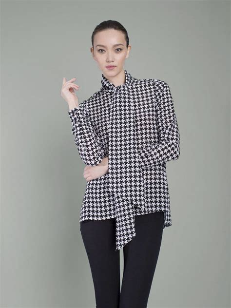 Blouse Houndstooth the pussybow blouse houndstooth silk shirts by