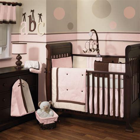 Set Dea Polka dot a lot cloud 7 crib bedding set pink brown chocolate brown and polka dot nursery