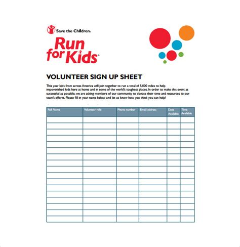 volunteer sign up sheet template 10 sign up sheet templates free sle exle format