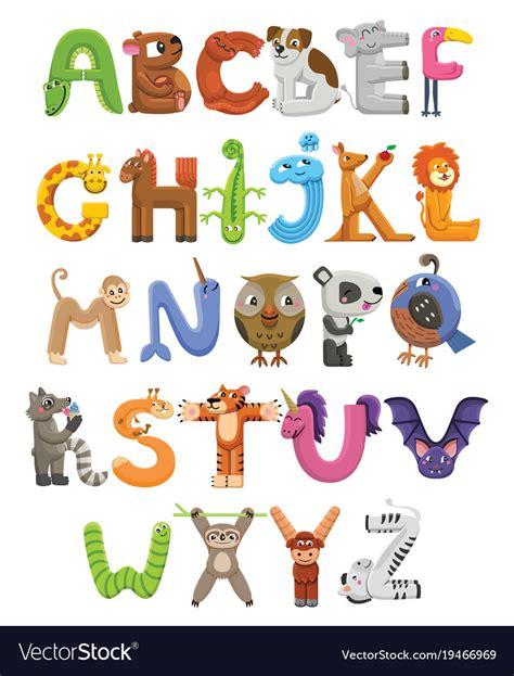 animal alphabet character stock vector zoo alphabet animal alphabet letters from a to z vector image