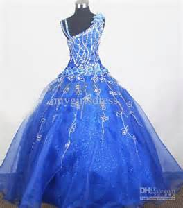 New style blue one shoulder cute girl kids pageant bridesmaid dance