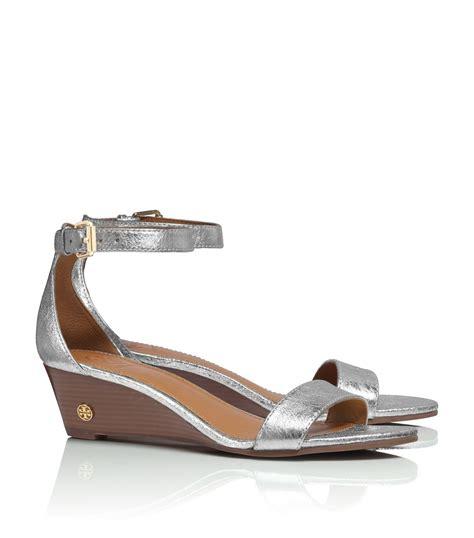 burch silver sandals burch metallic wedge sandal in silver
