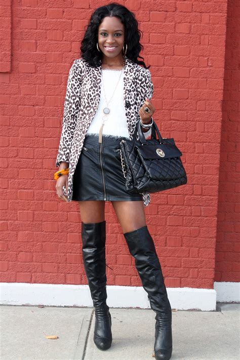 leather skirt knee high boots 11 versicolor closet