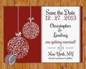 save the date chevron christmas wedding card ornate ornament