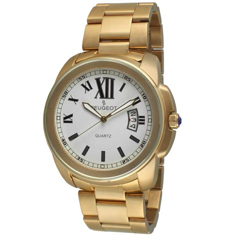 peugeot mens stainless steel gold