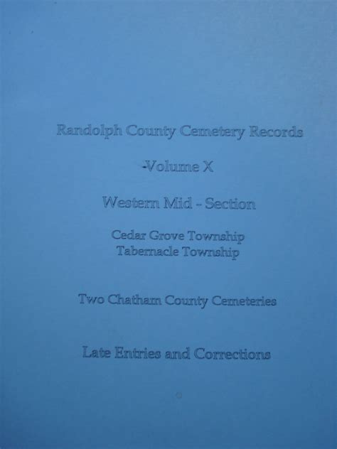Randolph County Records Randolph County Cemetery Records Volume 5 Western Mid Section