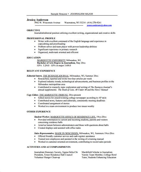 Resume Templates For Editing Resume For Copy Editor