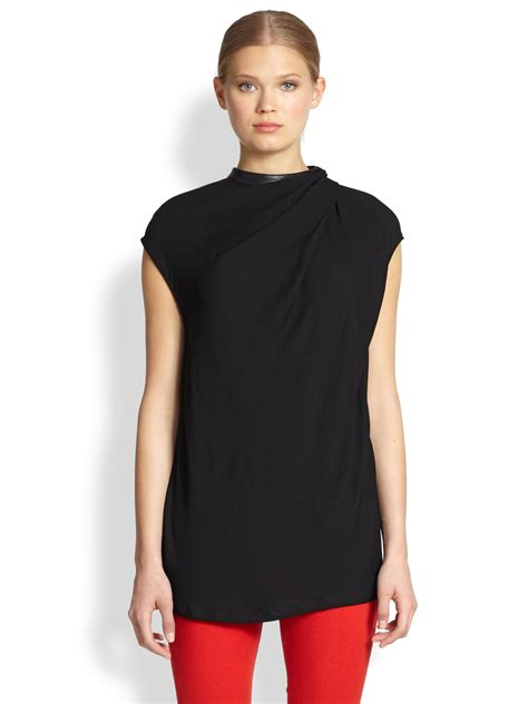 helmut lang draped top helmut lang more leathertrimmed draped top in black lyst