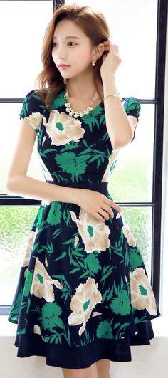 Dress Midi Gaun Import Green Pattern Size L 211827 korean fashion store 韓流 trends luxe asian 韓国 style shop korean clothing
