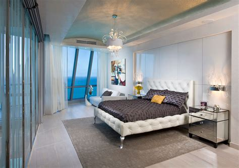 silver bedroom furniture in miami condo by montgomery roth pfuner design oceanfront penthouse contemporary