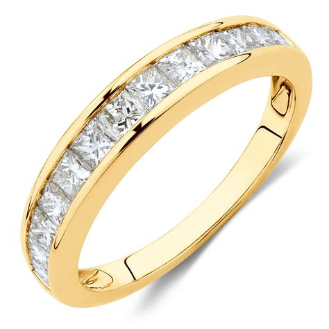 Wedding Bands Yellow Gold With Diamonds by Wedding Band With 1 Carat Tw Of Diamonds In 10ct Yellow Gold