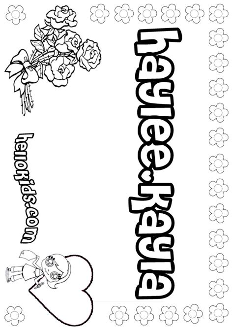 coloring pages of the name kayla haylee kayla coloring pages hellokids com