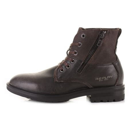 replay mens boots mens replay nest brown leather lace up worker