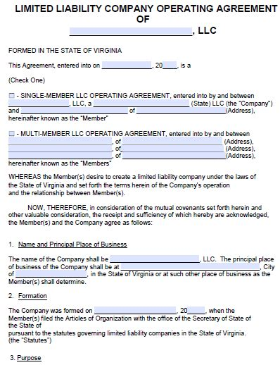 operating agreement llc virginia template free virginia llc operating agreement template pdf word