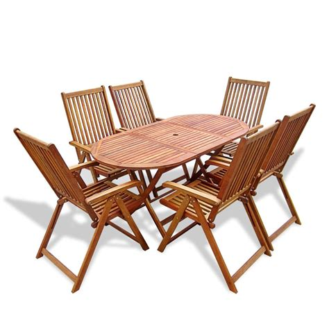 Vidaxl Wooden Outdoor Dining Set 6 Adjustable Chairs 1 Wooden Dining Table For 6