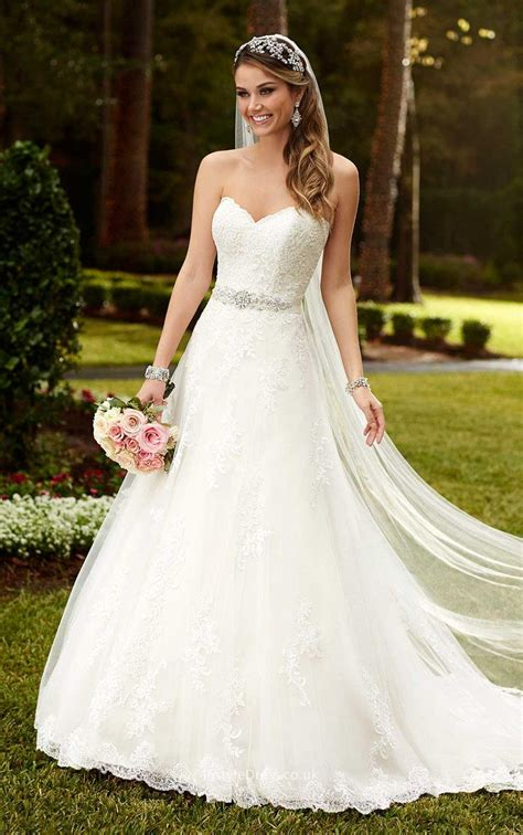 best wedding dresses uk 2016 strapless sweetheart lace princess a line wedding dress with sash instyledress co uk