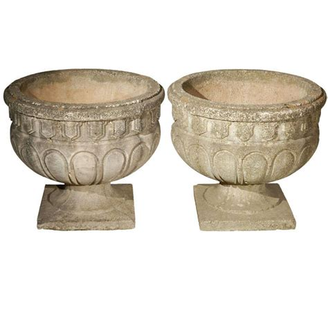 Cement Urn Planters by Cast Cement Mellon Shaped Urn At 1stdibs
