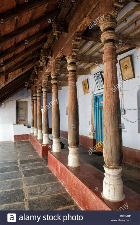 veranda india traditional south indian house with large wooden pillared