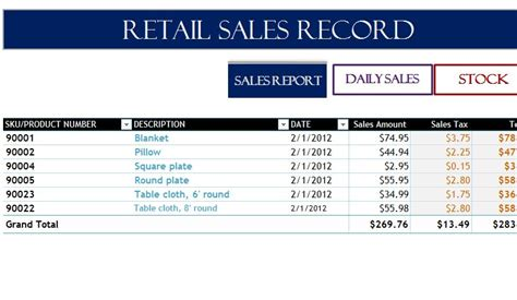 Sales Records Retail Sales Record My Excel Templates