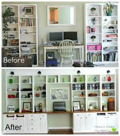 Wall To Wall Bookcase Remodelaholic Build A Wall To Wall Built In Desk And