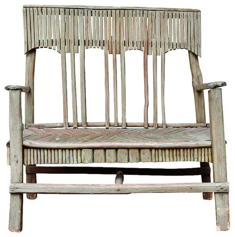 twig bench folk art rustic antique twig bench modern garden