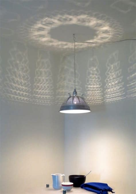 Colander Light Fixture She Takes A Strainer And Transforms It Into A Rustic Lighting Fixture