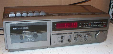 sears sr3000 am fm radio cassette player recorder alarm clock radio w mic jacks clock radios