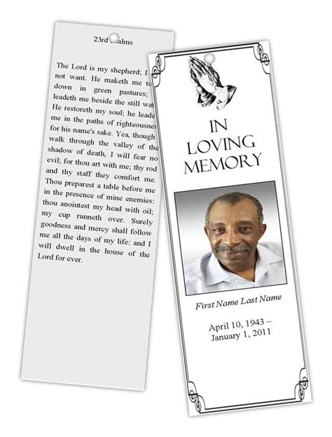 templates for memorial bookmarks funeral program templates memorial bookmark template