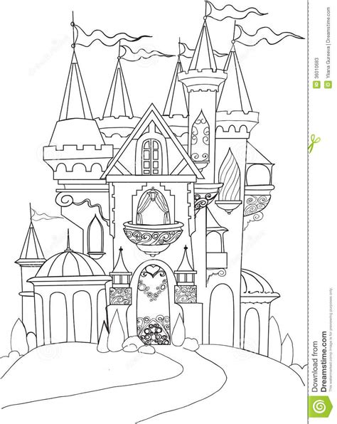 fairy tale castle coloring page color book palace fairy tale stock photos image 36010683