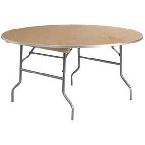 folding wood table w metal edge 60 quot diameter