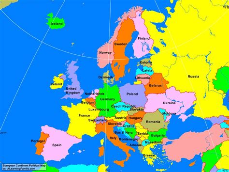 map europe europe european continent political map a learning family