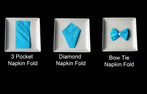 Origami Paper Napkins - three types of origami napkin folds for your table