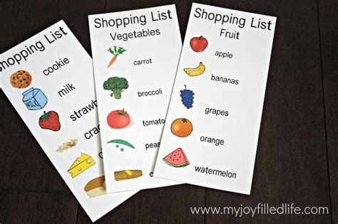 printable grocery list for toddlers 32 free pretend play printables my joy filled life