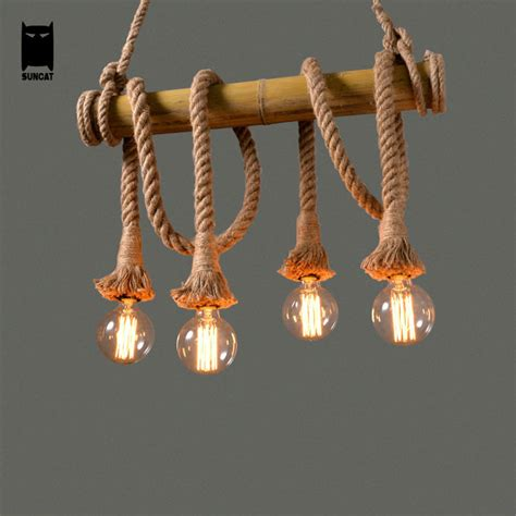 4 6 heads bamboo pipe hemp rope iron pendant light fixture