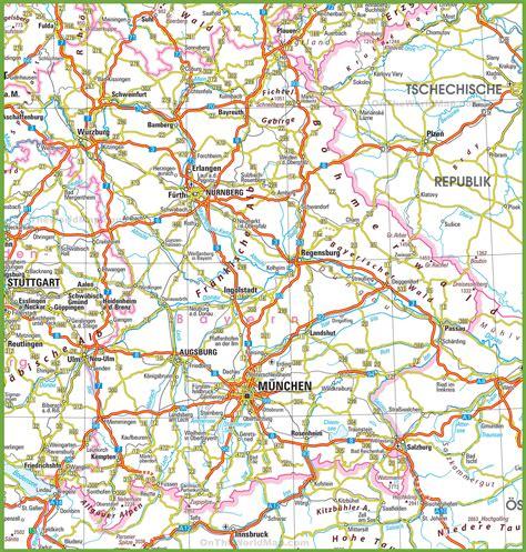 bavaria germany map bavaria road map